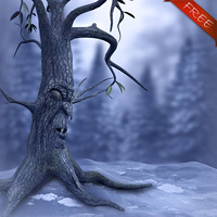 Scary Winter tree Freebie